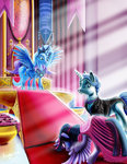 alicorn amalgamzaku bowing dress fancy_pants flowers highres princess princess_twilight the_great_and_powerful_trixie throne twilight_sparkle