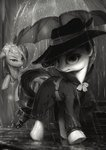assasinmonkey clothes detective hat highres noirity rain rainbow_dash rarity umbrella