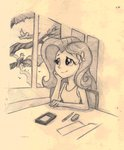 absurdres bird equestria_girls fluttershy highres humanized ilacavgbmjc sketch