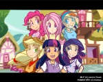 applejack black_bars dress fim_crew fluttershy humanized kreoss main_six mixed_resolution pinkie_pie ponyville rainbow_dash rarity twilight_sparkle wallpaper