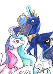 absurdres highres magic mirror princess_celestia princess_luna traditional_art yeahbutthendragons