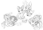 apple_bloom blossom bubbles_(ppg) buttercup buttercupsaiyan cutie_mark_crusaders highres lineart scootaloo sketch sweetie_belle the_powerpuff_girls