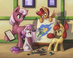 apple_bloom asimos cheerilee cutie_mark_crusaders magic paint paintbrush painting scootaloo sweetie_belle