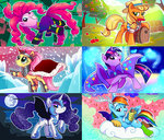 adlynh applejack apples barrel chocolate_rain cloud costume crystal discord disguise flam flim flim_flam_brothers flim_skim fluttershy king_sombra main_six mane-iac mare_in_the_moon moon nightmare_moon pinkie_pie rainbow_dash rarity the_great_and_powerful_trixie tree twilight_sparkle
