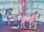 book horselike princess_twilight sagastuff94 spike starlight_glimmer tears traditional_art twilight_sparkle