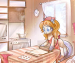 absurdres apron clock cooking highres kitchen mirroredsea original_character rolling_pin table window