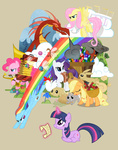 accordion applejack banjo bunny chicken cloudsdale cymbals diamond_dogs dragon fluttershy harmonica instrument main_six one_mare_band parasprite pinkie_pie plushie poison_joke rainbow_dash rarity rover sonic_rainboom sweet_apple_acres toy tuba turtle twilight_sparkle yikomega