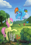 asimos butterfly cloud filly fluttershy highres maytee mouse rabbit rainbow_dash snake squirrel tree