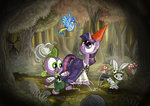 absurdres angel bird clothes crossover everfree_forest forest highres king_sombra over_the_garden_wall princess_twilight rainbow_dash seriousdog species_swap spike twilight_sparkle