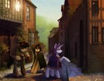 absurdres cloak clothes highres koviry original_character scenery town