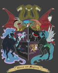 ahuizotl biscuitcrumbs coat_of_arms cockatrice discord gilda highres hydra king_sombra latin nightmare_moon parasprite queen_chrysalis the_great_and_powerful_trixie