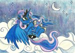 cloud highres moon pedrohander princess_luna stars traditional_art