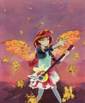 equestria_girls fire guitar highres humanized sunset_shimmer superrobotrainbowowl wings