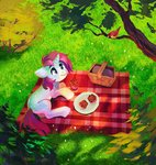 basket bird blanket cake dearmary highres original_character picnic picnic_basket tree