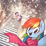 absurdres highres mirroredsea rainbow_dash rarity scarf