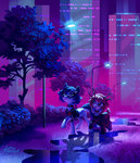city clothes glasses holivi nighttime original_character tree