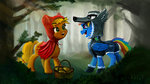 applejack basket costume little_red_riding_hood rainbow_dash trees wolf xbi