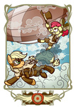 apple_bloom applejack dirigible goggles highres jacket jetpack noreasontohope steampunk transparent