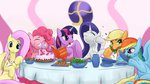 applejack book cake carrot eating fluttershy food highres main_six mricantdraw pinkie_pie rabbit rainbow_dash rarity table twilight_sparkle