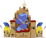 cardboard_box filly groxy-cyber-soul helmet highres pillow princess_luna spear throne transparent vector weapon