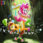 absurdres accordion balloon changeling cheese_sandwich gummy hat highres jowybean pinkie_pie rubber_chicken