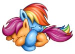 rainbow_dash scootaffection scootaloo sleeping transparent xioade