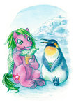 annapommes bird g1 penguin scarf snow traditional_art waddles
