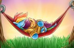 hammock rainbow_dash scootaffection scootaloo sleeping sweater xioade