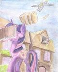 absurdres book derpy_hooves highres magic package plainoasis princess_twilight sweetie_drops twilight_sparkle watercolor