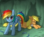 applejack bandage johnjoseco rainbow_dash