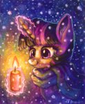 candle drawirm magic scarf snow traditional_art twilight_sparkle winter