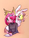 alternate_universe anthro fluttershy glacierclear highres personality_swap pinkie_pie ultimare_universe