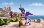 armor helmet kirillk owlowiscious princess_twilight scroll shield spear twilight_sparkle weapon