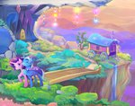 bridge cape cliff grass hat highres library ponyville scenery starlight_glimmer the_great_and_powerful_trixie tree viwrastupr wagon waterfall