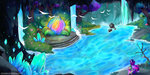 bird flowers highres scenery spike trees twilight_sparkle water waterfall wilvarin-liadon