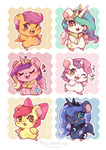 apple_bloom bandage cutie_mark_crusaders hamster heart princess_cadance princess_celestia princess_luna scootaloo scootamouse singing species_swap sweetie_belle xxmioxx