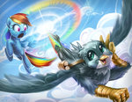 bag cloud flying gabby imdrunkontea rainbow_dash sonic_rainboom