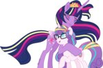 glasses hugs princess_flurry_heart princess_twilight shiiazu twilight_sparkle