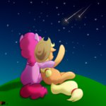 applejack applepie ggumbaramggun nighttime pinkie_pie shipping shooting_star