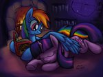 book cazra fireplace highres princess_twilight rainbow_dash shipping sleeping twidash twilight_sparkle winghug