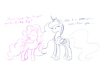comic feather-chan lineart pinkie_pie princess_luna sketch