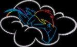 artist_unknown highres rainbow_dash simple sleeping wallpaper white_on_black