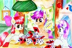 absurdres apple_bloom cards cutie_mark_crusaders highres liaaqila magic playing_card scootaloo sweetie_belle traditional_art