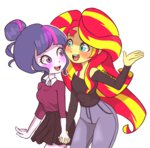 chibicmps equestria_girls humanized shipping sunlight sunset_shimmer twilight_sparkle