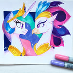 antychanto princess_celestia queen_novo traditional_art
