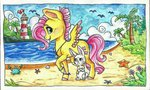 angel beach bird crab flowers fluttershy lighthouse sea seashell_(object) traditional_art tree twixyamber