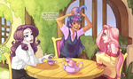 comic fluttershy humanized rarity tea_party twilight_sparkle x-arielle