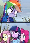 :seethe: angry baekgup equestria_girls fluttershy humanized pinkie_pie rainbow_dash twilight_sparkle