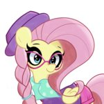 clothes fluttershy glasses hat highres kindakismet