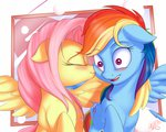 blushing blushy_as_fuck flutterdash fluttershy highres kiss nobody47 rainbow_dash shipping